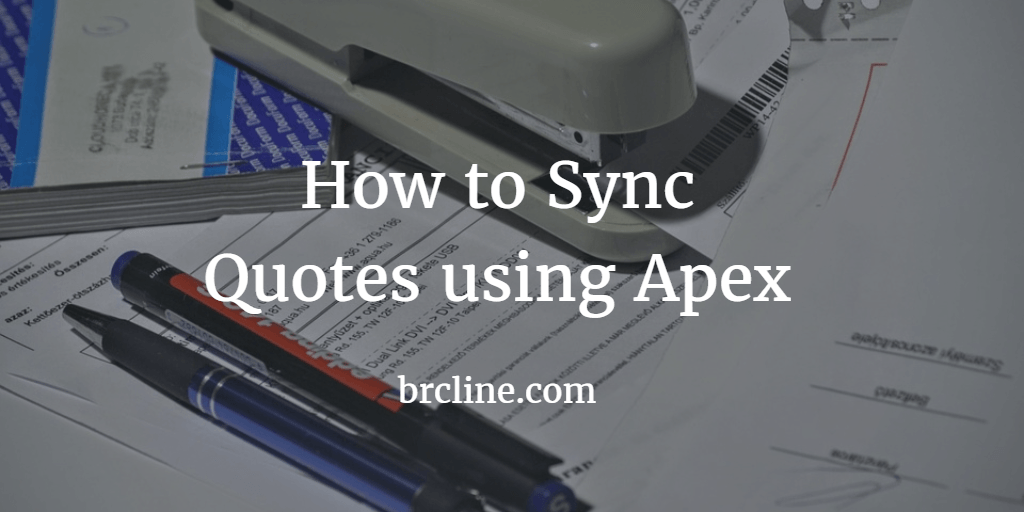 How to Sync Quotes using Apex
